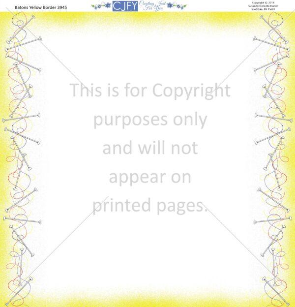 BatonsYellowBorder, Scrapbook Paper