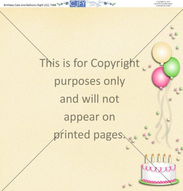 birthday cake & balloons scrapbook paper
