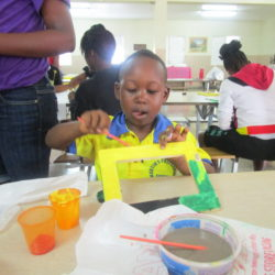 Doing Artwork with Students at CCCD, Jamaica
