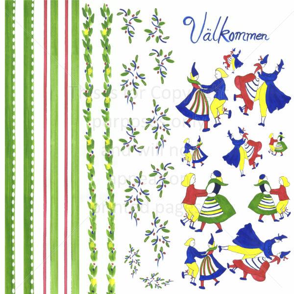 Swede Dancers Scrapbook Paper
