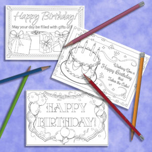 Adult Coloring Birthday Post Cards