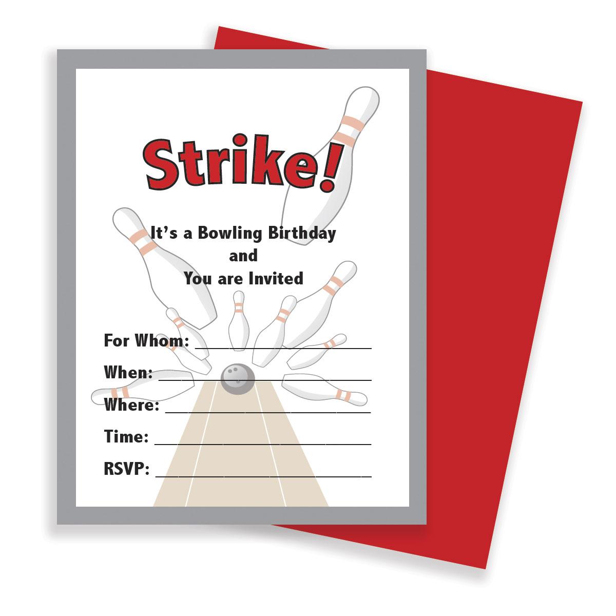 Birthday Party Invitations – Bowling – SMH Illustration & Design