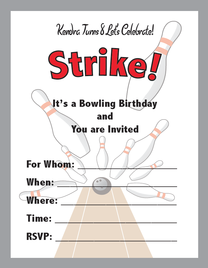 Bowling Birthday Party Invites SMH Illustration Design