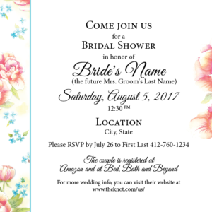 Peony and Phlox Wedding Shower Invitations