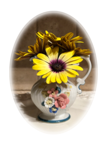 vase of zinnias