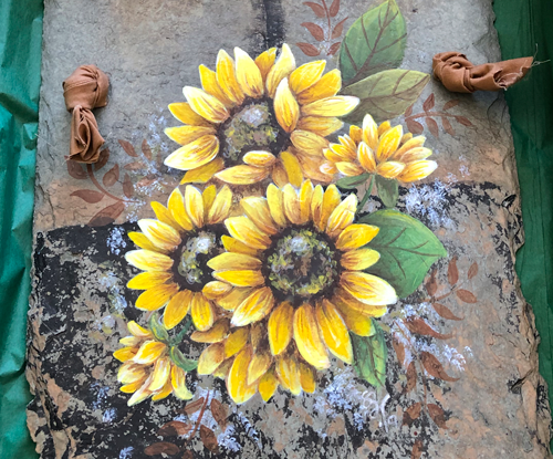 Hand Painted Sunflower Slate