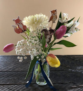 woodland animal baby shower floral picks
