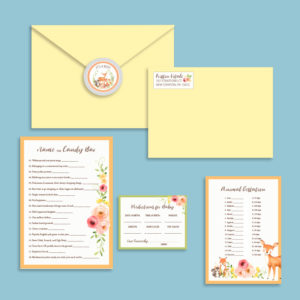 woodland animal baby shower invitations